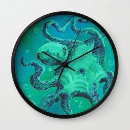 Octopus by Mary Bottom Wall Clock
