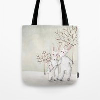 bunnies Tote Bags featuring Bunnies by Arianna Usai