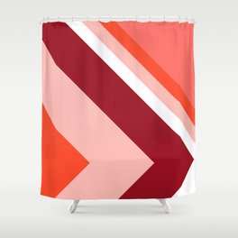 Living Coral - Mid Century Modern Geometry 2 Shower Curtain