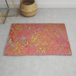 Red Abstract Water Marbling Rug
