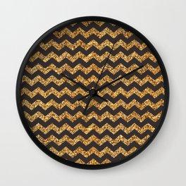 Bistre Gold Glitter Chevron Pattern Wall Clock