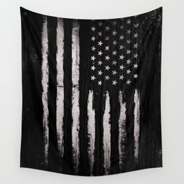 White Grunge American flag Wall Tapestry