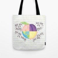 peach Tote Bags featuring Peach by Larissa