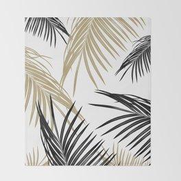 Gold Black Palm Leaves Dream #1 #tropical #decor #art #society6 Throw Blanket