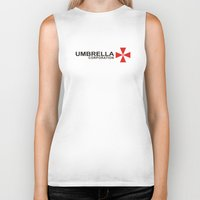 resident evil Biker Tanks featuring UMBRELLA COOPERATION T SHIRT TOP TEE TSHIRT RESIDENT EVIL ATHLETIC LOGO SLOGAN by jekonu