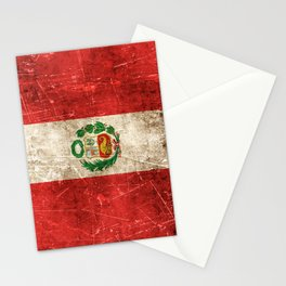 Vintage Aged and Scratched Peruvian Flag Stationery Cards