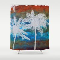 palm trees Shower Curtains featuring Palm Trees by Bonnie J. Breedlove