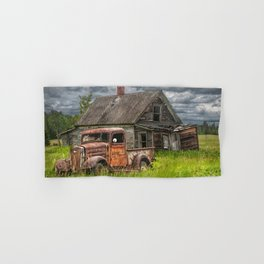 Old Vintage Pickup in front of an Abandoned Farm House Hand & Bath Towel