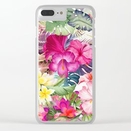 Tropical Floral Clear iPhone Case