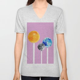 SUN MOON EARTH LOLLIPOPS Unisex V-Neck