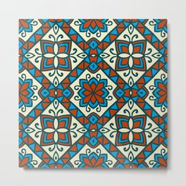 Decorative Floral Tribal Pattern 6 - Vesuvius, Cerulean and Cyprus Blue, Albescent White, Cream Metal Print
