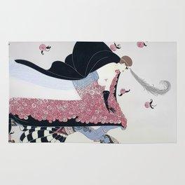 """Art Deco 1920's """"Rose Cloak"""" Illustration Rug"""