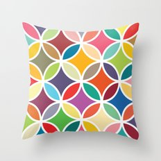 Retro colourful petals Throw Pillow