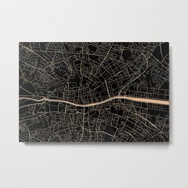 Gold and black Dublin map Metal Print