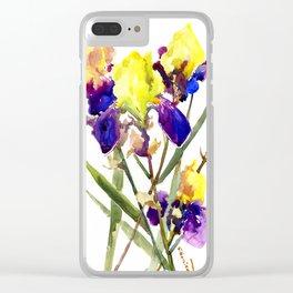 Garden Irises Floral Artwork Yellow Purple Blue Floral design Clear iPhone Case