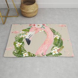Jungle Pals Series - Floral Flamingo Rug