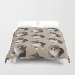 beige tan grey american wirehair cat pattern Duvet Cover