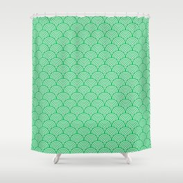 Green Concentric Circle Pattern Shower Curtain