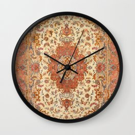 Persia Tabriz 19th Century Authentic Colorful Dusty Tan Red Blush Vintage Patterns Wall Clock