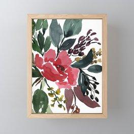 Watercolor Pink Flower Spread Framed Mini Art Print
