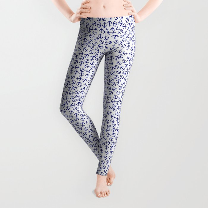 Maritime Anchors pattern- blue anchor on white background #Society6 Leggings