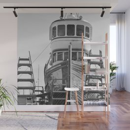 Shipyard Wooden Boat Fishing Ladders Black White Industrial Boatyard Northwest Shipwright Wall Mural