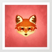 Hipster Fox: Rose Art Print