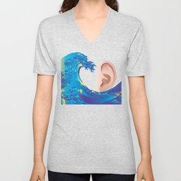 Hokusai Rainbow & Ear  Unisex V-Neck