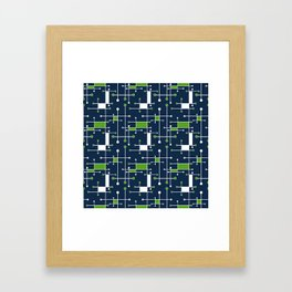 Intersecting Lines in Navy, Lime and White Framed Art Print