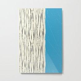 Blue Zebra Stripes Metal Print