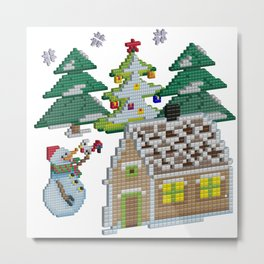 3D pixel art New Year Metal Print