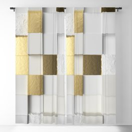 Elegant Cube wall 3D art- white and gold Blackout Curtain