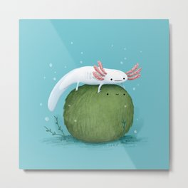 Axolotl on a Mossball Metal Print