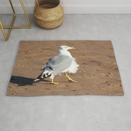 Seagull in a windy day with ruffled feathers Rug