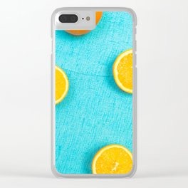 Oranges and lemons on turquoise background, citrus fruits Clear iPhone Case