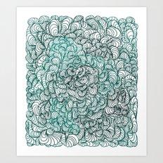 Squigg Block (Blue-Green) Art Print
