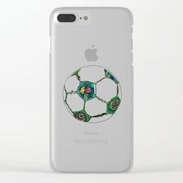 Floral Soccer Ball Clear iPhone Case