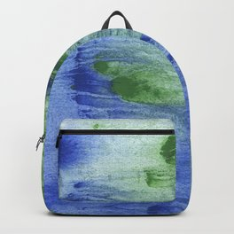 Blue-green abstract watercolor painting Backpack
