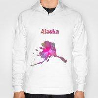 alaska Hoodies featuring Alaska Map by Roger Wedegis