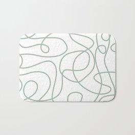 Doodle Line Art | Light Gray Green Lines on White Background Bath Mat