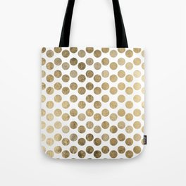 Elegant modern white faux gold polka dots Tote Bag