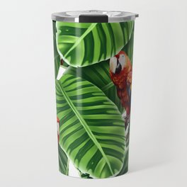 tropical leaves macaw pattern Travel Mug