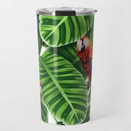 tropical leaves macaw pattern Travel Mug