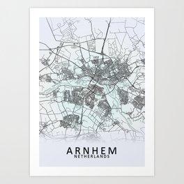 Arnhem, Netherlands, White, City, Map Art Print
