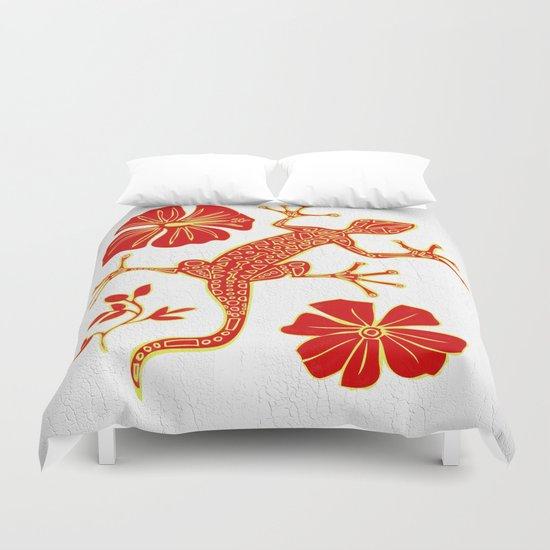 Tribal Lizard Design #1 Duvet Cover