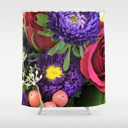 A Happy Bunch Of Colorful Flowers Shower Curtain