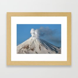 Top view of volcanic cone, fumaroles activity, steam and gas eruption from volcano crater Framed Art Print