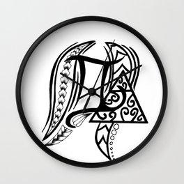 Tribal Gemini Zodiac Style Symbol Wall Clock