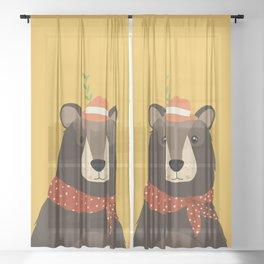 Brown Bear Print, Sheer Curtain