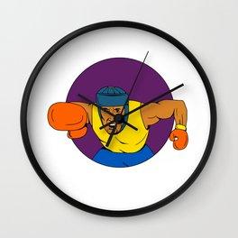 Amateur Boxer Punching Circle Drawing Wall Clock